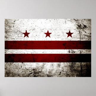 Black Grunge Washington DC Flag Poster