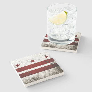 Black Grunge Washington DC Flag Stone Coaster