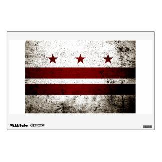Black Grunge Washington DC Flag Wall Sticker