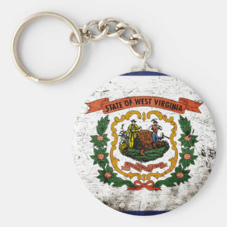 Black Grunge West Virginia State Flag Keychain