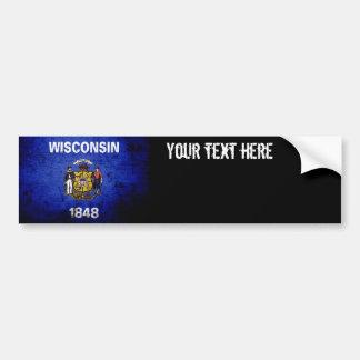 Black Grunge Wisconsin State Flag Bumper Sticker