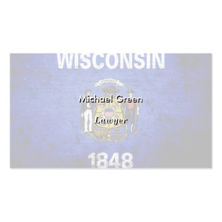 Black Grunge Wisconsin State Flag Business Card Templates