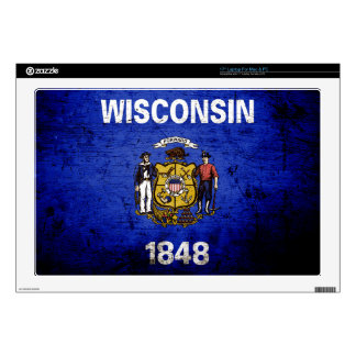 Black Grunge Wisconsin State Flag Decal For Laptop