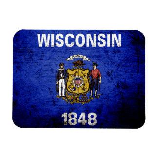 Black Grunge Wisconsin State Flag Magnet
