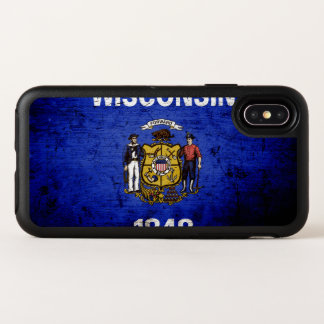 Black Grunge Wisconsin State Flag OtterBox Symmetry iPhone X Case