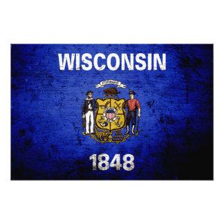 Black Grunge Wisconsin State Flag Photo Print