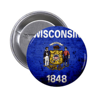 Black Grunge Wisconsin State Flag Pinback Button