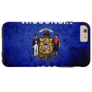Black Grunge Wisconsin State Flag Tough iPhone 6 Plus Case