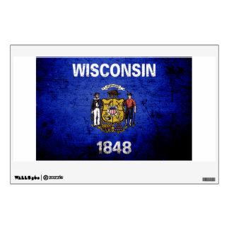 Black Grunge Wisconsin State Flag Wall Sticker