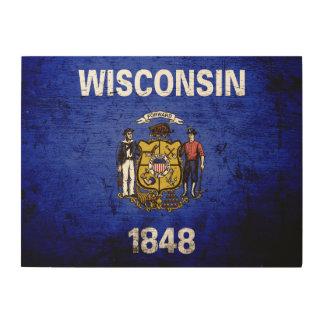 Black Grunge Wisconsin State Flag Wood Wall Art