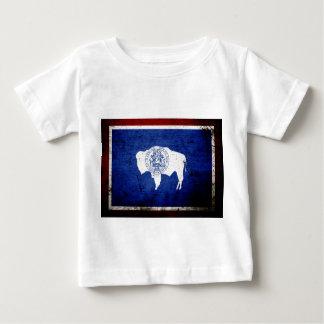 Black Grunge Wyoming State Flag Baby T-Shirt