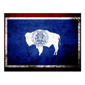 Black Grunge Wyoming State Flag Post Card