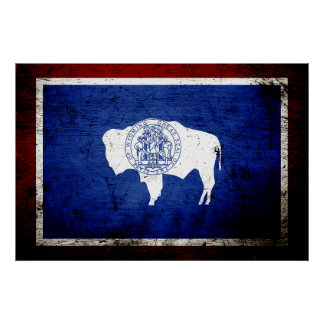Black Grunge Wyoming State Flag Poster