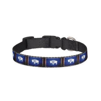 Black Grunge Wyoming State Flag Pet Collar