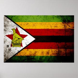 Black Grunge Zimbabwe Flag Poster