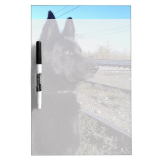 Black GSD with Train Tracks Dry-Erase Board