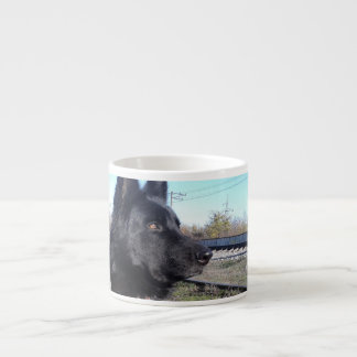 Black GSD with Train Tracks Espresso Cup