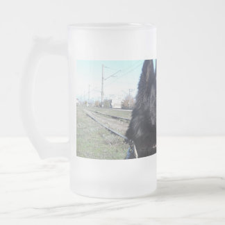 Black GSD with Train Tracks Frosted Glass Beer Mug