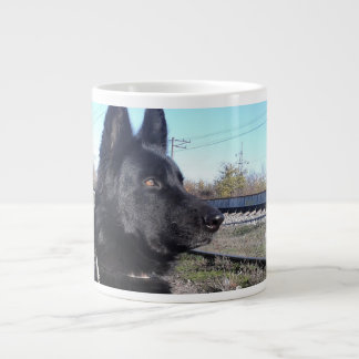 Black GSD with Train Tracks Large Coffee Mug