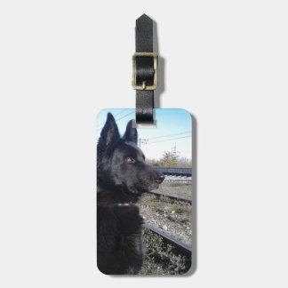 Black GSD with Train Tracks Bag Tags