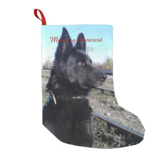 Black GSD with Train Tracks Small Christmas Stocking