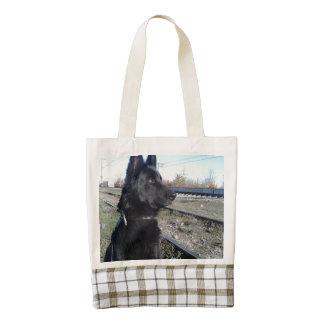 Black GSD with Train Tracks Zazzle HEART Tote Bag