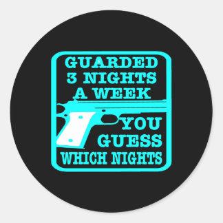 Black Guarded 3 Nights Week Classic Round Sticker
