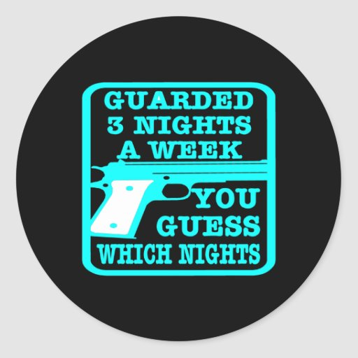 Black Guarded 3 Nights Week Stickers