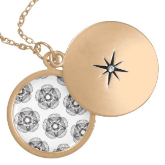 black guilloce pattern round locket necklace