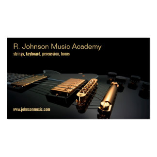 black guitar music instructor business card