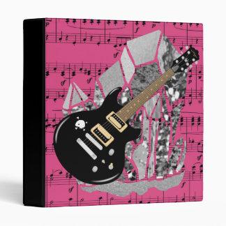 Black Guitar Pink Sheet Music Silver Crystal Binder