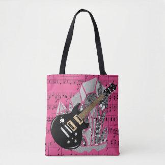 Black Guitar Pink Sheet Music Silver Crystal Tote Bag