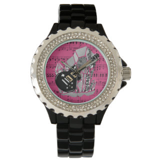 Black Guitar Pink Sheet Music Silver Crystal Wristwatch