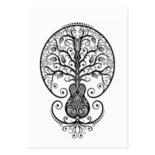 Black Guitar Tree of Life on White Business Card Template