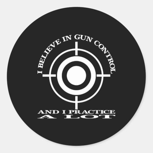 Black Gun Control Practice Lot Round Sticker