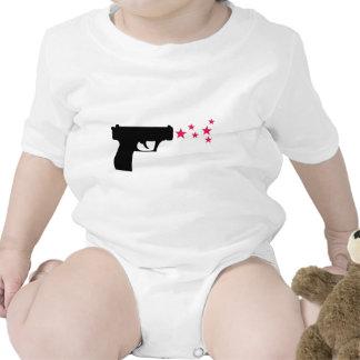 black gun star pistol stars tshirt