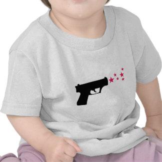 black gun star pistol stars t-shirts