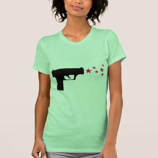 black gun star pistol stars tee shirt