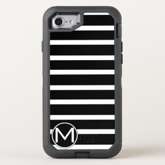 Black H Stripe Monogram OtterBox Defender iPhone 8/7 Case
