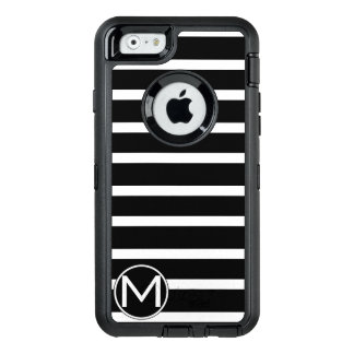 Black H Stripe Monogram OtterBox Defender iPhone Case