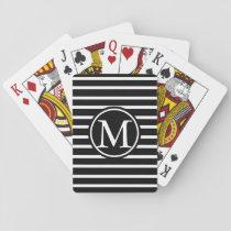 Black H Stripe Monogram Playing Cards