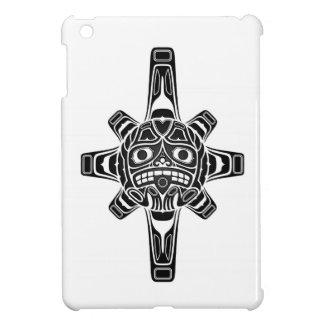 Black Haida Sun Mask on White Cover For The iPad Mini