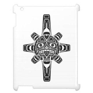 Black Haida Sun Mask on White Case For The iPad