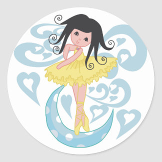 Black Hair Ballerina Tshirts and Gifts Classic Round Sticker
