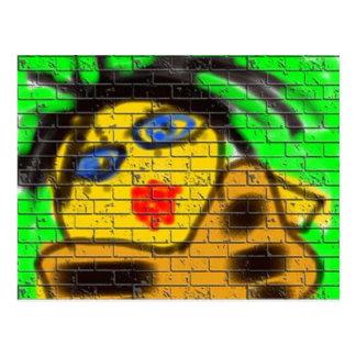 Black Hair Bee Woman Graffiti Wall Green Postcard