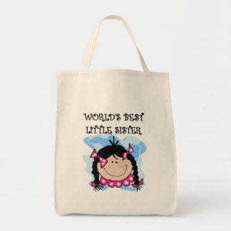 Black Hair Best Little Sister Tshirts and Gifts Grocery Tote Bag