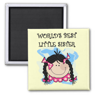Black Hair Best Little Sister Tshirts and Gifts Refrigerator Magnet