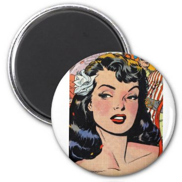 Black Hair Betty Paige Pinup girl with flower Magnet