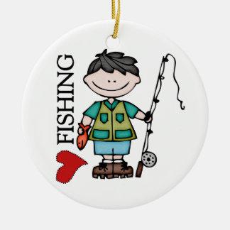 Black Hair Boy I Love Fishing Ceramic Ornament