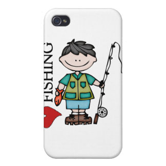Black Hair Boy I Love Fishing iPhone 4 Covers